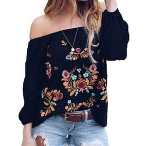 Tops - Long Sleeve Boho Floral Embroider Casual Blouse